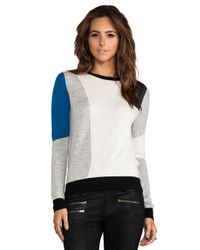 Shae - Blue Colorblock Jacquard Pullover in Cream - Lyst