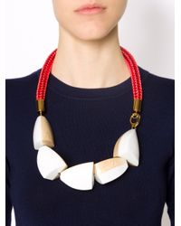 Marni - White Two-tone Wood Rope Collar Necklace - Lyst