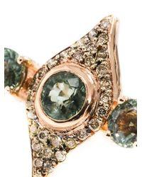 Ileana Makri - Green Diamond, Tsavorite & Pink Gold Double Ring - Lyst