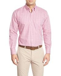 Peter Millar | Pink Regular Fit Check Sport Shirt for Men | Lyst