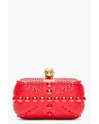 Alexander McQueen | Red Studded Skull Britania Box Clutch | Lyst