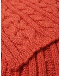 Jules B - Orange Cable Knit Scarf for Men - Lyst