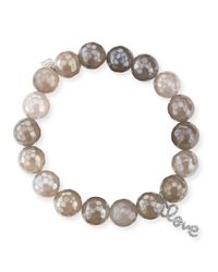 Sydney Evan | 10mm Faceted Gray Chalcedony Bead Bracelet With 14k Gold Love Charm | Lyst