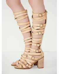 Free People | Natural Vegan Shell Game Gladiator Sandals | Lyst