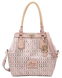 Guess - Pink Park Lane Perforated Turnlock Satchel - Lyst