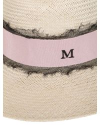 Maison Michel - Pink Virginie Straw Hat With Silk Tulle - Lyst