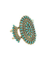 Lucky Brand - Metallic Turquoise Squash Blossom Cuff Bracelet - Lyst