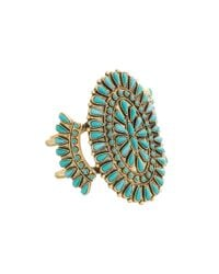Lucky Brand | Metallic Turquoise Squash Blossom Cuff Bracelet | Lyst