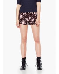 Mango - Red Jacquard Shorts - Lyst