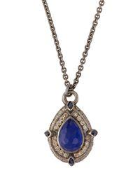 Armenta - Metallic Pear-Cut Pendant Necklace With Lapis/White Quartz Doublet - Lyst