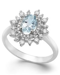 Macy's | Aquamarine (5/8 Ct. T.w.) And Diamond (3/8 Ct. T.w.) Ring In 14k White Gold | Lyst