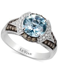 Le Vian - Blue Aquamarine (1-1/2 Ct. T.W.) And Diamond (1/3 Ct. T.W.) Ring In 14K White Gold - Lyst