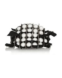 Lanvin - Black Leather and Faux Pearl Bracelet - Lyst