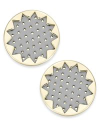 House of Harlow 1960 | Gray Gold-tone Patent Leather Sunburst Button Earrings | Lyst