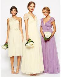 ASOS - Natural Wedding Ruched Mesh Panel Maxi Dress - Lyst