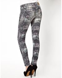 IRO - White Abstract Print Skinny Jeans - Lyst
