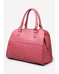 Bebe | Red Evy Quilted Satchel | Lyst