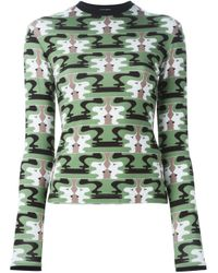 Holly Fulton - Green Face Print Longsleeved Top - Lyst