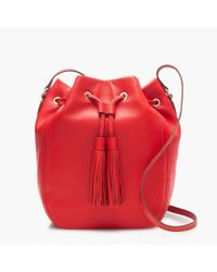 J.Crew - Red Tassel-tie Bucket Bag In Smooth Leather - Lyst