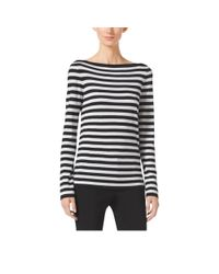 Michael Kors | Black Striped Merino Wool Sweater | Lyst