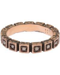 Nak Armstrong - Pink Rose Gold Diamond Squares Ring - Lyst
