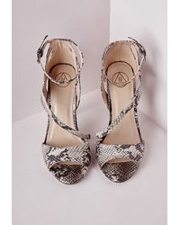 Missguided | Multicolor Strappy Asymmetric Heeled Sandals Snake Print | Lyst