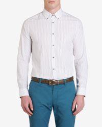 Ted Baker - White Micro Print Shirt for Men - Lyst