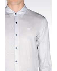 Emporio Armani - White Shirt In Printed Jersey for Men - Lyst