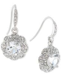 Carolee - Metallic Silver-Tone Crystal Flower Drop Earrings - Lyst
