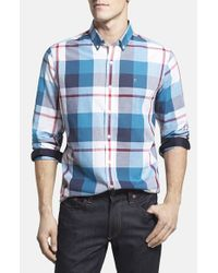Victorinox | Blue 'trent' Tailored Fit Plaid Sport Shirt for Men | Lyst