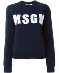 MSGM | Blue Logo Applique Sweatshirt | Lyst