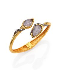 Alexis Bittar | Metallic Elements Phoenix Labradorite Rocky Bypass Cuff Bracelet | Lyst