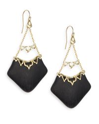 Alexis Bittar | Black Imperial Lucite & Crystal Georgian Lace Chandelier Earrings | Lyst