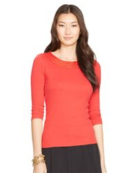 Lauren by Ralph Lauren | Red Pointelle-knit Cotton Top | Lyst