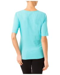 Basler - Blue T-shirt With Decorative Pearls - Lyst