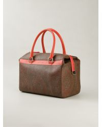 Etro - Brown Paisley-Print Leather Tote - Lyst