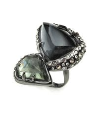Alexis Bittar | Green Kinetic Ruthenium Stacked Cocktail Ring | Lyst