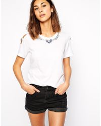 American Retro - White Venus Short Sleeve Top With Embellished Neckline - Lyst