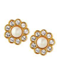 kate spade new york - Metallic Faux Pearl Flower Stud Earrings - Lyst
