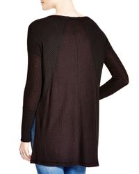 Free People | Black Ventura Thermal Tunic Top | Lyst