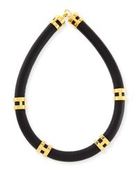 Lizzie Fortunato | Black Leather Double-Take Necklace | Lyst