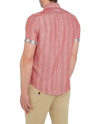 Ben Sherman | Red Double-faced Check Classic Fit Short Sleeve Butto for Men | Lyst