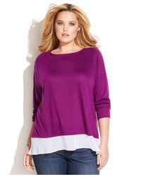 INC International Concepts | Purple Plus Size Layered-Look Sweater | Lyst