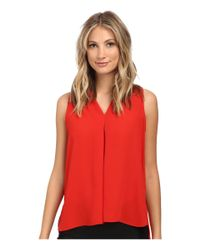 Vince Camuto - Red Blouse W/ Inverted Front Pleat - Lyst