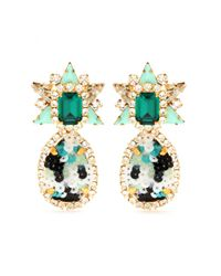 Shourouk - Green Galaxy Sequins Clip-On Earrings - Lyst