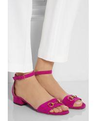Gucci - Pink Horsebit-detailed Suede Sandals - Lyst