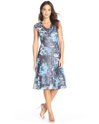 Komarov - Blue Print Chiffon & Charmeuse A-Line Dress - Lyst