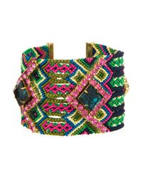 Gypsies & Debutantes | Pink And Green Friendship Bracelet, Wide | Lyst