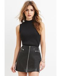 Forever 21 | Black Mock Neck Ribbed Sweater | Lyst