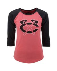 Red Jacket - Pink Womens Threequartersleeve Chicago Blackhawks Raglan Tshirt - Lyst